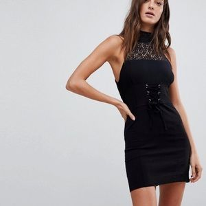 Free People High Society Black Lace Bodycon Dress